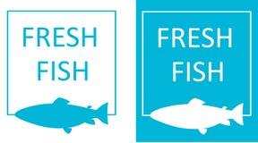 Silhouette of fish in frame, fresh fish minimalist logo. Silhouette of fish in frame, fresh fish minimalist art logo royalty free illustration
