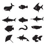 Silhouette Fish icon set Royalty Free Stock Images