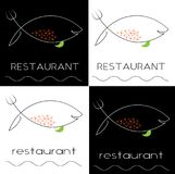 Silhouette of fish from a knife and fork with caviar fish, caviar, restaurant minimalist logo. Silhouette of fish from a knife and fork with caviar fish, caviar Royalty Free Stock Image