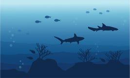 Silhouette of fish on ocean landscape. Vector art Stock Photos