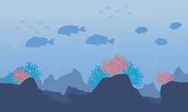 Silhouette of fish in the ocean. Vector art Royalty Free Stock Photography