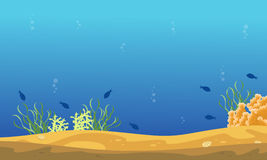 Silhouette of fish and reef on sea landscape. Illustration Stock Photos