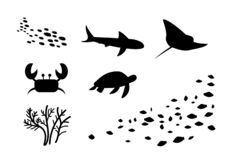 Silhouette of group fish,stingray, crab, turtle, coral