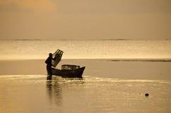 Silhouette fisherman Royalty Free Stock Photos