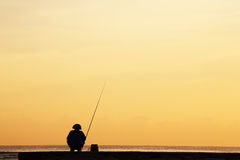 Silhouette of Fisherman Royalty Free Stock Photo