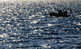Silhouette from fisherman Royalty Free Stock Photography