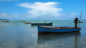 Fisherman on a boat. Silhouette of a fisherman on a boat in the water, Ile aux Aigrettes Nature Reserve, Mauritius in the Indian Ocean. Cinemagraph loop stock video footage