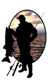 Silhouette of fisherman with a fish on a river bac. Black silhouette of fisherman with a fish on a river background royalty free illustration