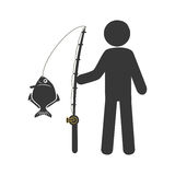 Silhouette Fisherman with fishing rod. Vector illustration Royalty Free Stock Images