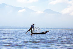Silhouette of fisherman at Inle Lake Burma Myanmar Royalty Free Stock Photo