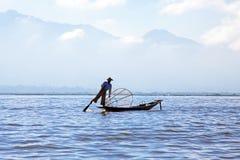 Silhouette of fisherman at Inle Lake Burma Myanmar Royalty Free Stock Photo