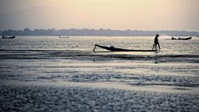 Silhouette fisherman. At Inle Lake, Myanmar Stock Image