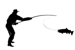 Silhouette of a fisherman with salmon fish Stock Photography