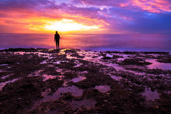 Silhouette of fisherman in sunset Royalty Free Stock Photography