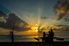 Silhouette of fisherman in Zanzibar on the boat at sunrise Royalty Free Stock Photos