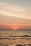 Silhouette of fishermen boats fishing in sunset on the sea Royalty Free Stock Photos