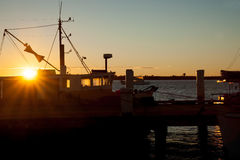 Silhouette fishing boat. Royalty Free Stock Photo