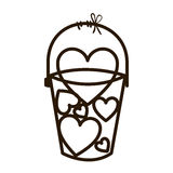 Silhouette fishing bucket with shape hearts Stock Images