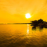 Silhouette at fishing jetty. This photo taken at pualau indah, selangor, malaysia Royalty Free Stock Photos