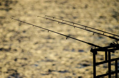 Silhouette of fishing rod with sunset light Royalty Free Stock Photo