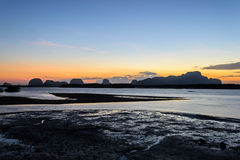 Silhouette of Fishing village and sunrise Royalty Free Stock Photos