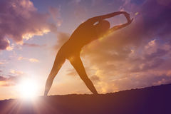 Silhouette of fit person Stock Image