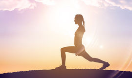 Silhouette of fit person Royalty Free Stock Images