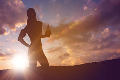 Silhouette of fit person Royalty Free Stock Photos