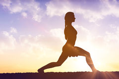 Silhouette of fit person Royalty Free Stock Photo