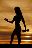 Silhouette of fit woman curling weight side Stock Photography