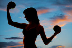 Silhouette fitness balls close Royalty Free Stock Photography