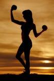 Silhouette fitness balls full body Stock Image
