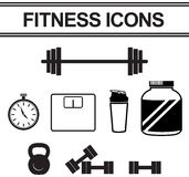 Silhouette fitness and exercise tool such as dumbbell Stock Image