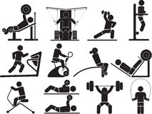 Silhouette Fitness icons Stock Photography