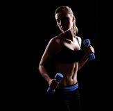 Silhouette of a fitness model royalty free stock image