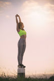 Silhouette fitness woman exercising at sunset time. Vintage Effect Stock Photos