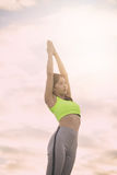 Silhouette fitness woman exercising at sunset time,. Vintage Effect Royalty Free Stock Images