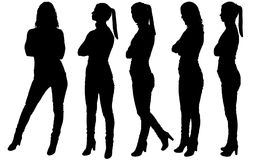 Silhouette of five business women standing in different poses stock image
