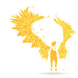 Silhouette of an flame angel, with large expanded wings - on a white background Royalty Free Stock Photo