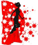 Silhouette of flamenco dancer Stock Photography