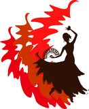 Silhouette of flamenco dancer. With fan and castanets Royalty Free Stock Photos