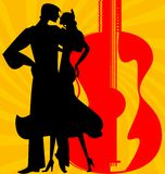 Silhouette of  flamenco dancers. On abstract red-yellow background are couple of Spanish dancers Stock Image