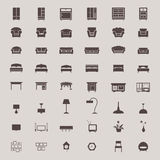 Silhouette flat home appliance furniture and interior decoration Stock Image