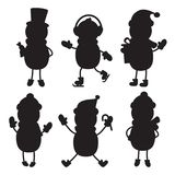 Silhouette Flat Icon, Simple Vector Design. Set Of Cartoon Snowmen In Hat, Scarf, Gloves, Skates. Illustration For Winter Royalty Free Stock Photos