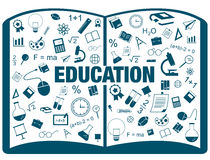Silhouette flat linear infographic of education academic text bo Stock Photo