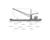 Silhouette of a floating crane. Vector illustration. Eps 10 stock illustration