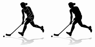 Silhouette of floorball player, vector draw stock photos