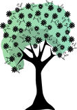 Silhouette Floral Tree Lush Flowers stems leaves Royalty Free Stock Photos