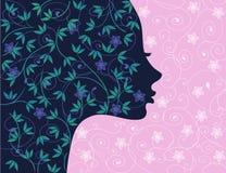 Silhouette florale de fille illustration stock