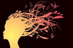 Silhouette florale de fille Image stock